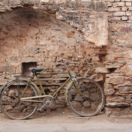 Bicycle in Pushkar by Mark Seath - Transportation Bicycles ( sigma 18-35mm, old, brick wall, pushkar, artistic, stone wall, wall, bicycle )