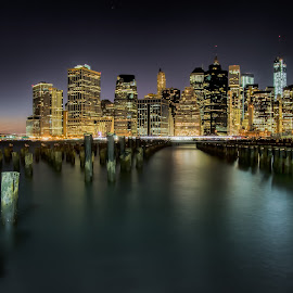Manhattan by Ron Phillips - City,  Street & Park  Skylines ( cityscapes, night photography, city lights, manhattan, new york )