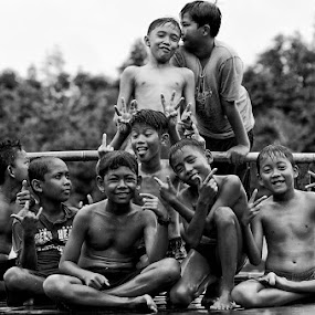 Better Together by Eris Suhendra - Black & White Portraits & People ( child, black and white, indonesia, children, nikon, people, potraits )