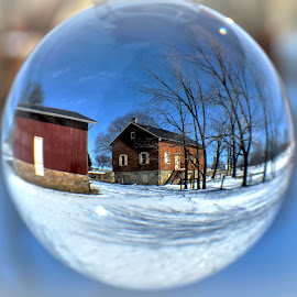 Tobacco Warehouse in Snow by Mike Roth - Artistic Objects Glass
