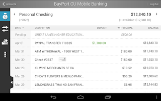 Screenshot of BayPort CU Mobile Banking