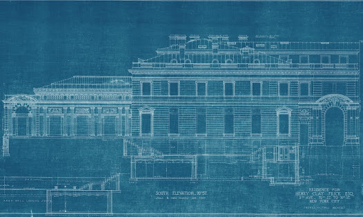 The architect's model of 1 East 70th Street no longer survives, but blueprints of the north and south elevations of the house show Hastings's conception for the house.