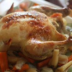 Roast Chicken and Root Vegetables with Mustard-Rosemary Sauce