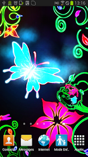 Butterfly Neon Animated LWP - screenshot
