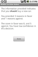 Screenshot of Mobile Decision Maker