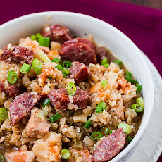 "Chicken and Sausage Jambalaya with Cauliflower ""Rice"""
