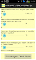 Screenshot of Find Credit Score Calculator