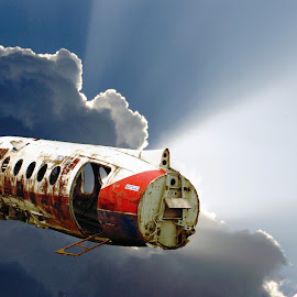 Floating Dutchman by Joerg Schlagheck - Digital Art Things ( time, twowheelsandacamera., airplane, floating, space, decaying, abandoned,  )