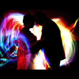 Special Day by Daloma Poe - Abstract Light Painting ( glow sticks, painting with light, wedding, couple, bright colors )