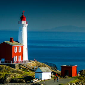 Fisgard by Darren Sutherland - City,  Street & Park  Historic Districts ( victoria, blue, white, bc canada, fisgard lighthouse, national historic site canada )