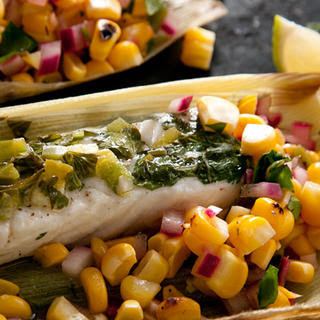 Corn-Husk-Wrapped Grilled Halibut with Charred Corn Salsa
