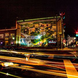 Long exposure night scene by Paul Stonehouse - City,  Street & Park  Night ( night shots, car lights, downtown naperville, naperville, christmas lights, light trails, long exposure, street scene )