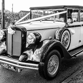wedding car by Kathleen Devai - Black & White Objects & Still Life ( car ribbons wedding wheels )