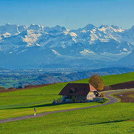 Waiting for Winter by Kitty Bern - Buildings & Architecture Homes ( home, mountain, winter, bern, switzerland, , path, nature, landscape )