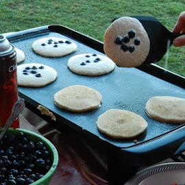 Making Blueberry Pancakes by Kathy Rose Willis - Food & Drink Cooking & Baking ( breakfast, food, griddle, pancakes, cooking, blueberries )
