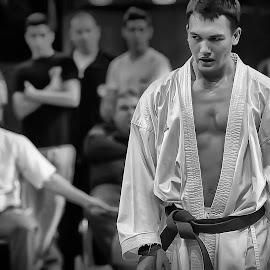 Karateka by U Neon - Sports & Fitness Other Sports ( black and white, sports, kumite, martial arts, karate )