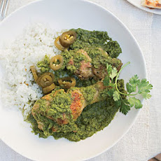 Braised Chicken with Cilantro, Mint and Chiles