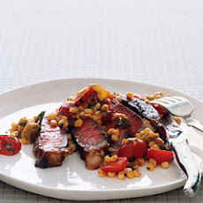 Rib-Eye Steak with Warm Tomato Corn Salad