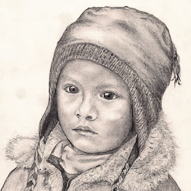 Chu'lo by Lew Davis - Drawing All Drawing ( person, peru, children, pencil drawings, chu'lo, lew davis, people, drawing, hat, child, hats, girl, peruvian child, pencil sketches, pencil drawing, pencil sketch, peruvian children, portraits, young people, girls, sketch, youth, portrait, pencil, sketches, culture )