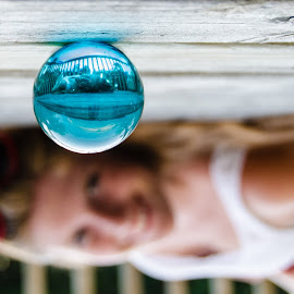by Beth Thomander - Artistic Objects Glass ( reverse, reflection, girl, glass ball, sphere )