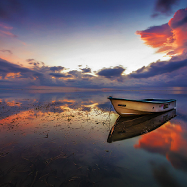 Alone in Dawn by Budi Astawa - Transportation Boats ( karang, dawn, sanur, boat )