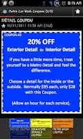Screenshot of Metro Car Wash Coupons