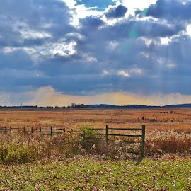 A Field of Gettysburg by Sherry Moore - Landscapes Prairies, Meadows & Fields ( battlefield, field, gettysburg pa, meadow fence, meadow, clouds and sun, pennsylvania, gettysburg )