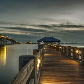 A Pier in Ocean Springs  by Jim Howton - Buildings & Architecture Bridges & Suspended Structures ( biloxi, bay, pier, long exposure, night )