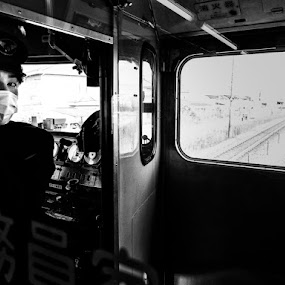 On The Train by Kurt K Gledhill - City,  Street & Park  Street Scenes ( okayama, japan, monochrome, street, white, candid, place, people, black )
