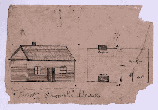 A sketch of Aaron Sherritt's house. Killed as a traitor on the 26 June 1880.
