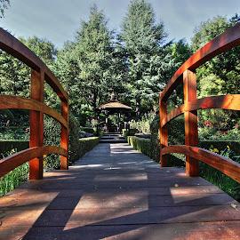 Small Park in Sonoma by Sanjib Paul - City,  Street & Park  Historic Districts ( park, bridge, evening, small, sonoma )