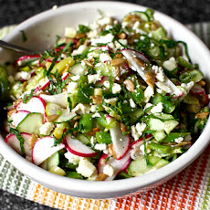 Chopped Salad with Feta, Lime, Mint and Sunflower Seeds