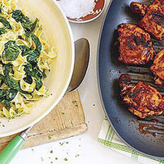 Paprika Chicken Thighs with Spinach and Egg Noodles