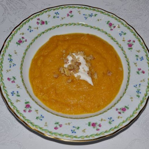 Roasted Pumpkin Soup with Caramelized Walnut Garnish