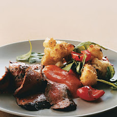 Sauteed Flank Steak with Arugula and Roasted Cauliflower and Red Peppers