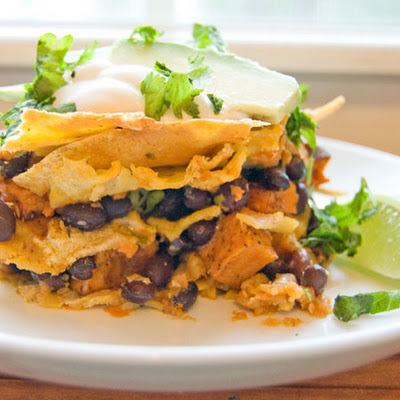 Sweet Potato and Black Bean Chilaquiles