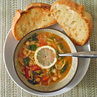 Spicy Chickpea Soup with Lemon and Orzo