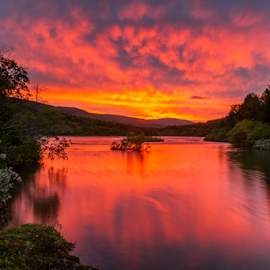 Sunset in the North by Jónas H. Ottósson - Landscapes Sunsets & Sunrises ( orange, icealnd, sunset, fnjoska, river )