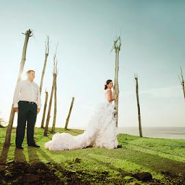 Here for Love by Amin Basyir Supatra - Wedding Bride & Groom ( love, bali, blue sky, prewedding, happy, wedding, beach, smile )