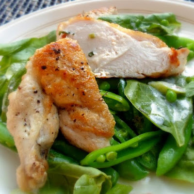 Crispy Chicken, Sugar Snaps and Spinach Salad