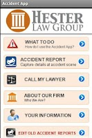 Screenshot of Auto Accident App Hester Law