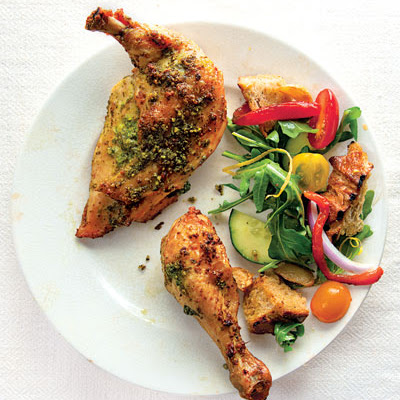Pesto-Rubbed Chicken with Panzanella