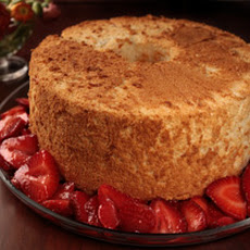 Passover Orange Angel Food Cake with Strawberries Recipe