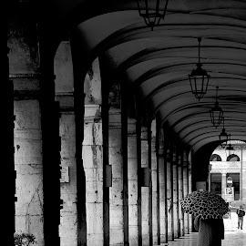 Going for a walk! by Bruno Brunetti - City,  Street & Park  Street Scenes ( senigallia, umbrella, people, italy, rain )