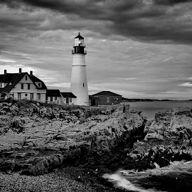Portland Head Maine by Bud Schrader - Buildings & Architecture Public & Historical ( maine, lighthouses, portland head, maine coast, b&w lighthouse, black and white, b&w, landscape )