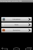 Screenshot of Retaining Walls Calculator PRO