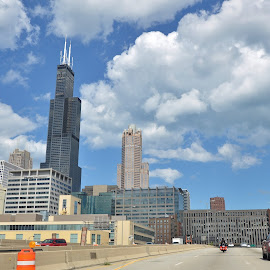Approaching Chicago by Viana Santoni-Oliver - City,  Street & Park  Skylines ( automobiles, clouds, skyline, willis tower, illinois, highway, metropolis, midwest, transportation, travel, architecture, eisenhower expressway, city, vacation, expressway, sky, cars, buildings, summer, chicago, sears tower, construction )