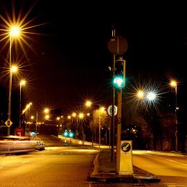 Starlit road by Martys Photos - City,  Street & Park  Street Scenes ( kilmainham, ireland, dublin, street, long exposure, night, martin j murphy, martin j murphy photography )