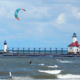 Kite Surfing Silver Beach by Art Snapper - Sports & Fitness Surfing ( water, lake michigan, kite surfer, waves, silver beach, lighthouse, chilly )