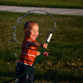 Happiness is a Hose by Daniel Hopkins - Babies & Children Children Candids ( water, children, summer, motion, portrait )